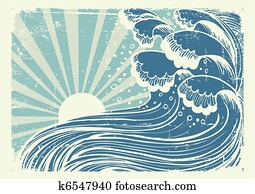 Storm in blue sea. Vectorgrunge image of big waves in sun day