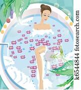 Young woman having aromatherapy bath