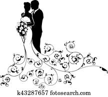 Bride and Groom Couple Wedding Silhouette Abstract
