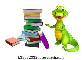 cute Aligator cartoon character with book stack
