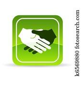 Green Handshake Icon