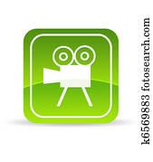 Green Video Camera Icon
