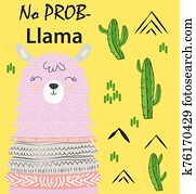 Motivation lettering with No drama llama. Chilling funny doodle alpaca or peru symbol lama