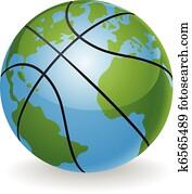 welt globus, basketball ball, begriff