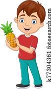 Cartoon little boy holding a pineapple