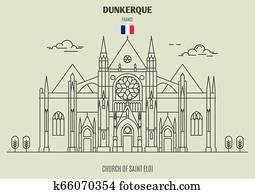 Church of Saint Eloi in Dunkerque, France. Landmark icon