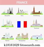 France. Symbols of cities