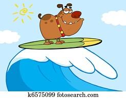 glücklich, hund, surfen