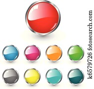 Glossy blank web buttons
