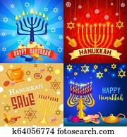 Hanukkah banner set, cartoon style