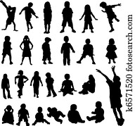 Lots of Children and Babies Silhoue