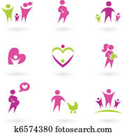 Maternity, pregnancy and health icons isolated on white - pink,