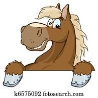 pferd, maskottchen, karikatur, kopf