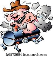 schwein, reiten, auf, a, grillspass, fass