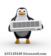 3d penguin holding split