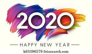 frohes neues jahr, 2020, karte, mit, buntes, bürste anschlag, design.