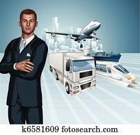 Logistics business man concept back