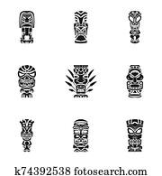 Tiki aztec idol icon set, simple style