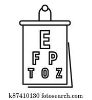 Eye examination banner icon, outline style