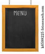 Restaurant menu board on blackboard