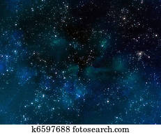 space with blue nebula clouds