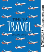 Time to Travel Template Background with Airplane. Illustration
