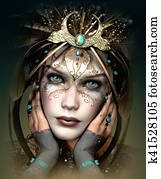 Vivi Mask with Fantasy Headdress, 3d CG
