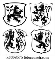 Heraldic lions and shields