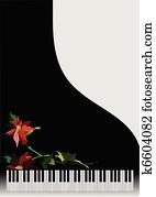 klavier, mit, blume