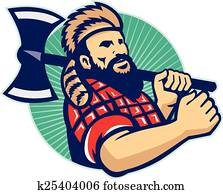 Lumberjack Logger With Axe Retro
