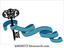 Old key and ribbon