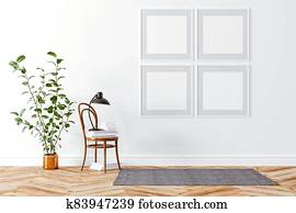 3d d render of beautiful interior setup with chair and home plant