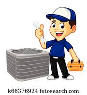 Hvac Cleaner or technician hold wrench and toolbox