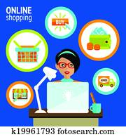 927d194ef Online shopping concept infographics in vector. Woman walking from ...