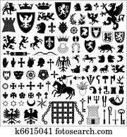 ritterwappen, symbole, und, elemente