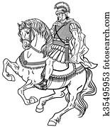 romanische, krieger, auf, dass, pferd, schwarz, wei?