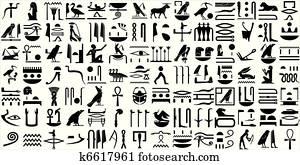 uralt, aegyptisch, hieroglyphen, satz, 1