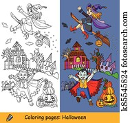 Vector halloween coloring and colored example witch and vampire
