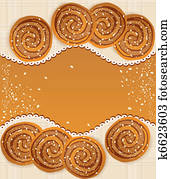 background with cookies sprinkled with sesame seeds and