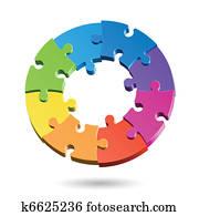 Jigsaw puzzle circle