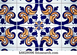 stock photograph of vintage spanish style ceramic tiles k7068749 search stock photography. Black Bedroom Furniture Sets. Home Design Ideas