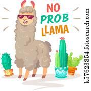 Cool alpaca lettering quote with No prob llama. Funny wildlife animal, lama quotes vector concept