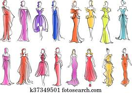 Fashion models in colorful dresses, sketch style