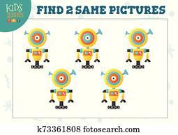 finden, zwei, gleich, bilder, kinder, puzzel, vektor, illustration.