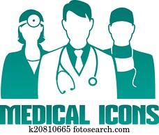 medizinische, symbol, mit, verschieden, doktoren