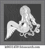 Mermaid with celtic border