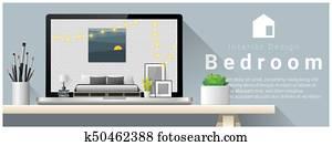 Modern bedroom interior design background 4
