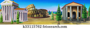 Ancient Rome. Panorama view