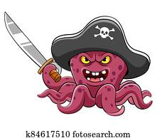 Angry octopus pirates cartoon holding sword