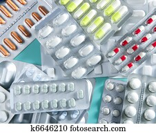 blase, medizinische, tabletten, hintergrund, grüner schreibtisch